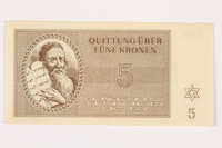 2001.3.18 front Theresienstadt ghetto-labor camp scrip, 5 kronen, owned by a former Czech Jewish inmate  Click to enlarge