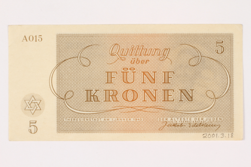 2001.3.18 back Theresienstadt ghetto-labor camp scrip, 5 kronen, owned by a former Czech Jewish inmate