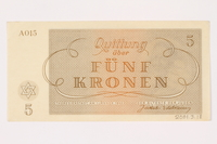 2001.3.18 back Theresienstadt ghetto-labor camp scrip, 5 kronen, owned by a former Czech Jewish inmate  Click to enlarge