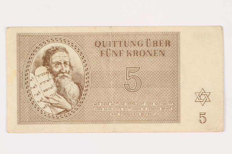 2001.3.19 front Theresienstadt ghetto-labor camp scrip, 5 kronen, owned by a former Czech Jewish inmate