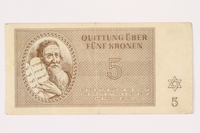 2001.3.19 front Theresienstadt ghetto-labor camp scrip, 5 kronen, owned by a former Czech Jewish inmate  Click to enlarge