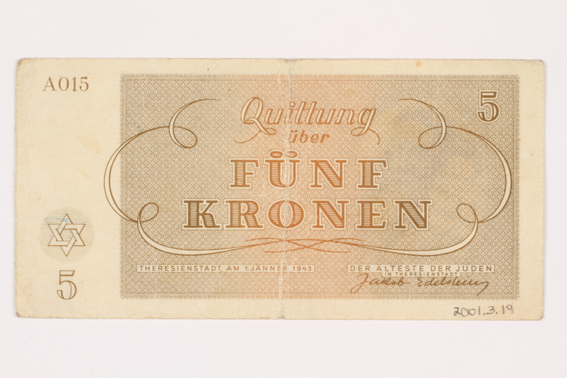 2001.3.19 back Theresienstadt ghetto-labor camp scrip, 5 kronen, owned by a former Czech Jewish inmate