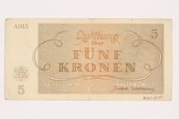 2001.3.19 back Theresienstadt ghetto-labor camp scrip, 5 kronen, owned by a former Czech Jewish inmate  Click to enlarge