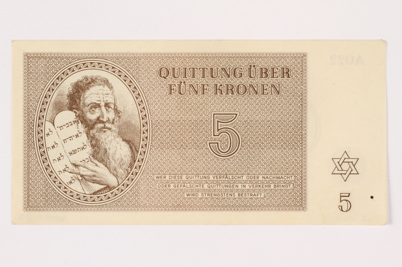 2001.3.20 front Theresienstadt ghetto-labor camp scrip, 5 kronen, owned by a former Czech Jewish inmate