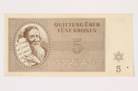 2001.3.20 front Theresienstadt ghetto-labor camp scrip, 5 kronen, owned by a former Czech Jewish inmate  Click to enlarge