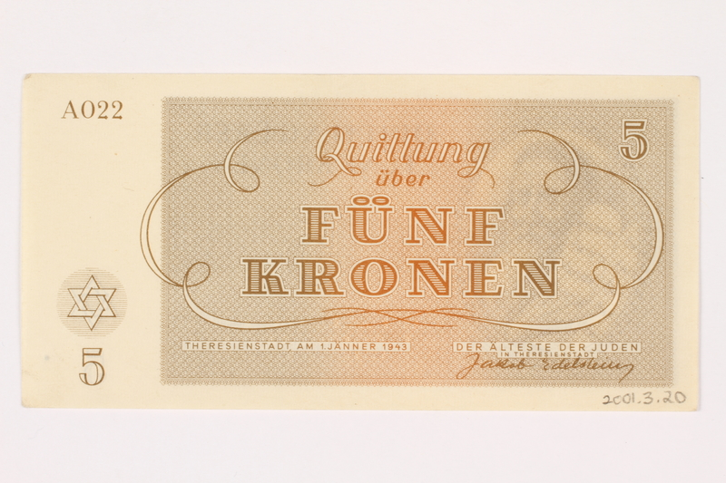 2001.3.20 back Theresienstadt ghetto-labor camp scrip, 5 kronen, owned by a former Czech Jewish inmate