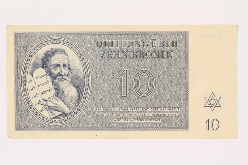 2001.3.23 front Theresienstadt ghetto-labor camp scrip, 10 kronen, owned by a former Czech Jewish inmate