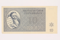 2001.3.23 front Theresienstadt ghetto-labor camp scrip, 10 kronen, owned by a former Czech Jewish inmate  Click to enlarge