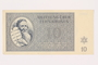 Theresienstadt ghetto-labor camp scrip, 10 kronen, owned by a former Czech Jewish inmate
