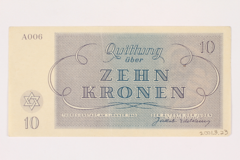 2001.3.23 back Theresienstadt ghetto-labor camp scrip, 10 kronen, owned by a former Czech Jewish inmate
