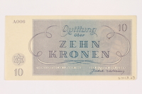 2001.3.23 back Theresienstadt ghetto-labor camp scrip, 10 kronen, owned by a former Czech Jewish inmate  Click to enlarge