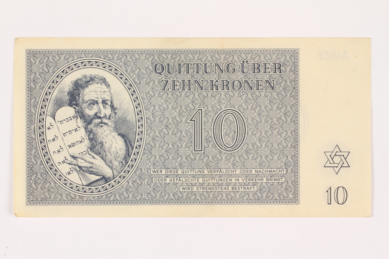 2001.3.24 front Theresienstadt ghetto-labor camp scrip, 10 kronen, owned by a former Czech Jewish inmate