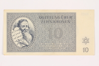 2001.3.24 front Theresienstadt ghetto-labor camp scrip, 10 kronen, owned by a former Czech Jewish inmate  Click to enlarge