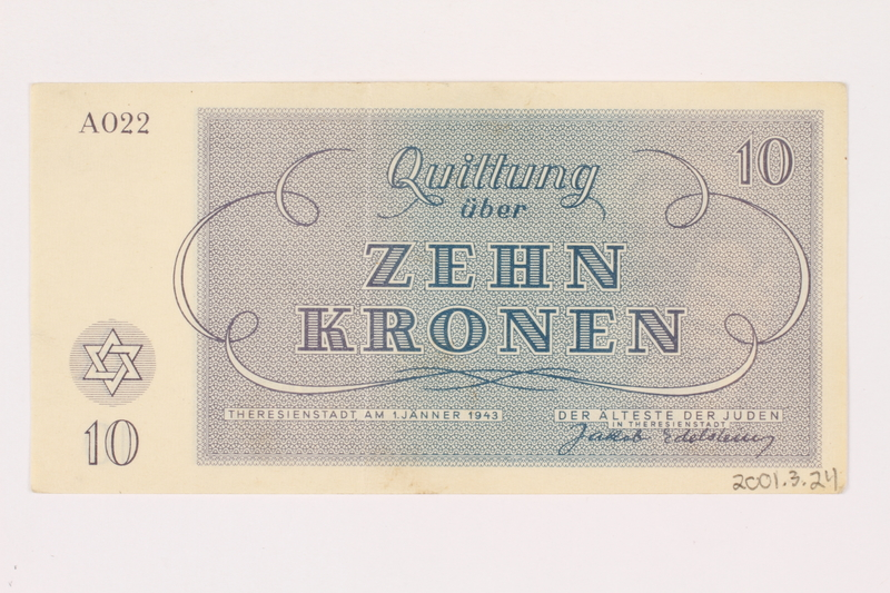 2001,3,24 back Theresienstadt ghetto-labor camp scrip, 10 kronen, owned by a former Czech Jewish inmate