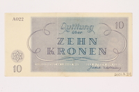 2001,3,24 back Theresienstadt ghetto-labor camp scrip, 10 kronen, owned by a former Czech Jewish inmate  Click to enlarge