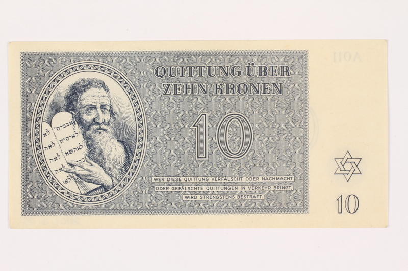 2001.3.25 front Theresienstadt ghetto-labor camp scrip, 10 kronen, owned by a former Czech Jewish inmate