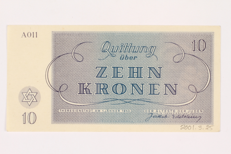 2001.3.25 back Theresienstadt ghetto-labor camp scrip, 10 kronen, owned by a former Czech Jewish inmate