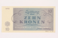 2001.3.25 back Theresienstadt ghetto-labor camp scrip, 10 kronen, owned by a former Czech Jewish inmate  Click to enlarge
