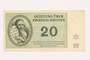 Theresienstadt ghetto-labor camp scrip, 20 kronen, owned by a former Czech Jewish inmate