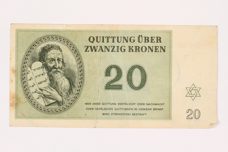 2001.3.28 front Theresienstadt ghetto-labor camp scrip, 20 kronen, owned by a former Czech Jewish inmate