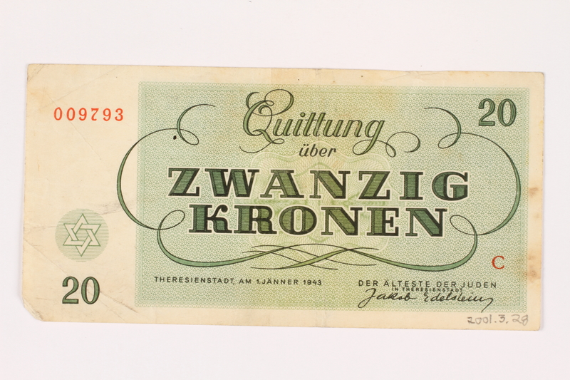 2001.3.28 back Theresienstadt ghetto-labor camp scrip, 20 kronen, owned by a former Czech Jewish inmate