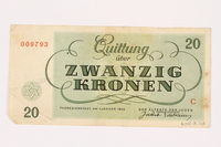 2001.3.28 back Theresienstadt ghetto-labor camp scrip, 20 kronen, owned by a former Czech Jewish inmate  Click to enlarge