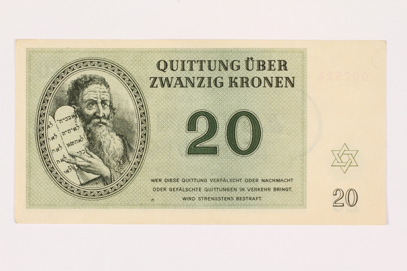 2001.3.29 front Theresienstadt ghetto-labor camp scrip, 20 kronen, owned by a former Czech Jewish inmate