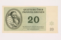 2001.3.29 front Theresienstadt ghetto-labor camp scrip, 20 kronen, owned by a former Czech Jewish inmate  Click to enlarge