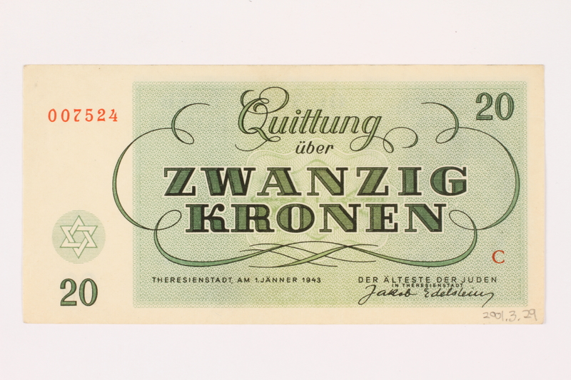 2001.3.29 back Theresienstadt ghetto-labor camp scrip, 20 kronen, owned by a former Czech Jewish inmate