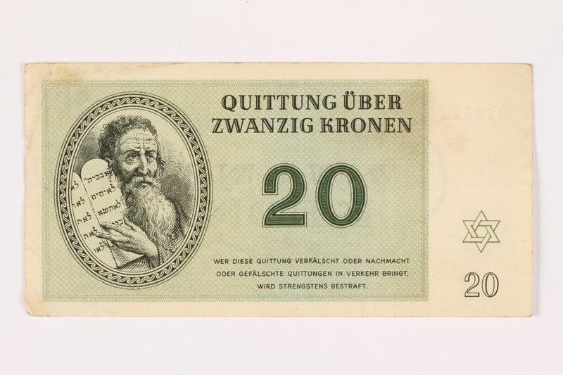 2001.3.30 front Theresienstadt ghetto-labor camp scrip, 20 kronen, owned by a former Czech Jewish inmate