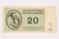 2001.3.30 front Theresienstadt ghetto-labor camp scrip, 20 kronen, owned by a former Czech Jewish inmate  Click to enlarge