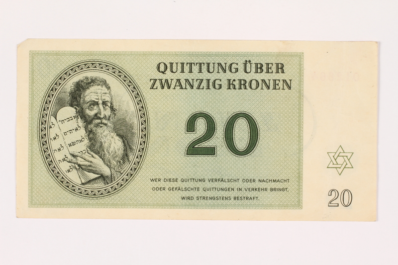 2001.3.31 front Theresienstadt ghetto-labor camp scrip, 20 kronen, owned by a former Czech Jewish inmate
