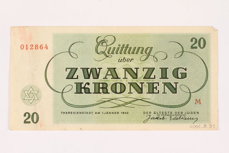 2001.3.31 back Theresienstadt ghetto-labor camp scrip, 20 kronen, owned by a former Czech Jewish inmate