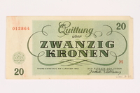 2001.3.31 back Theresienstadt ghetto-labor camp scrip, 20 kronen, owned by a former Czech Jewish inmate  Click to enlarge