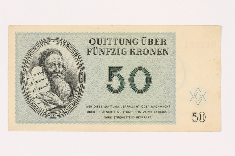 2001.3.33 front Theresienstadt ghetto-labor camp scrip, 50 kronen, owned by a former Czech Jewish inmate