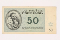 2001.3.33 front Theresienstadt ghetto-labor camp scrip, 50 kronen, owned by a former Czech Jewish inmate  Click to enlarge
