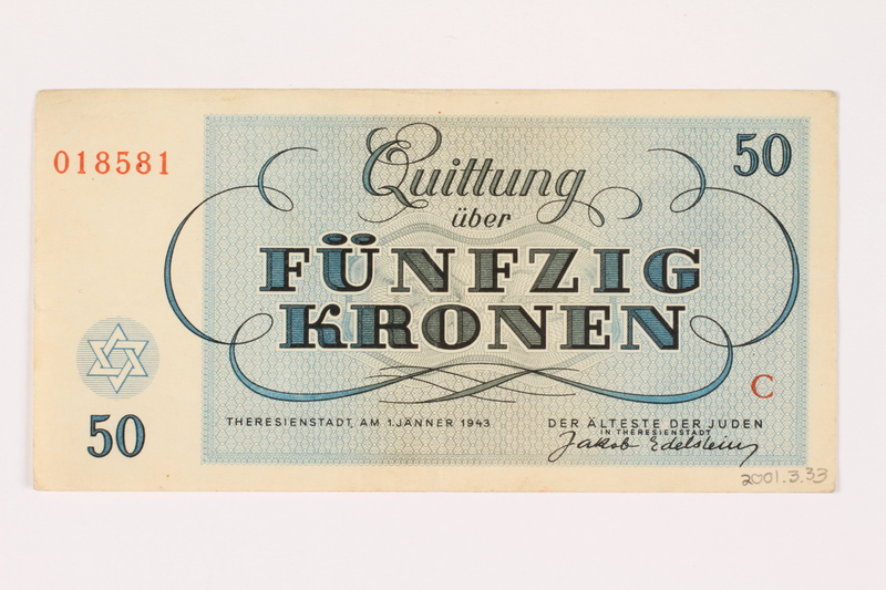 2001.3.33 back Theresienstadt ghetto-labor camp scrip, 50 kronen, owned by a former Czech Jewish inmate