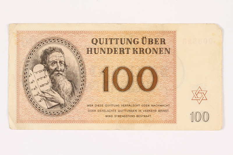 2001.3.34 front Theresienstadt ghetto-labor camp scrip, 100 kronen, owned by a former Czech Jewish inmate