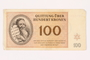 Theresienstadt ghetto-labor camp scrip, 100 kronen, owned by a former Czech Jewish inmate