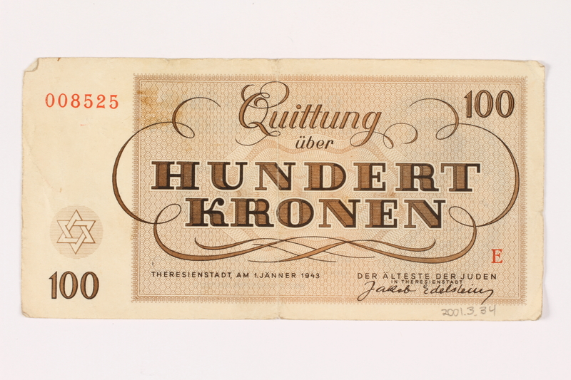 2001.3.34 back Theresienstadt ghetto-labor camp scrip, 100 kronen, owned by a former Czech Jewish inmate