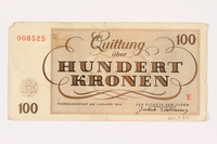 2001.3.34 back Theresienstadt ghetto-labor camp scrip, 100 kronen, owned by a former Czech Jewish inmate  Click to enlarge