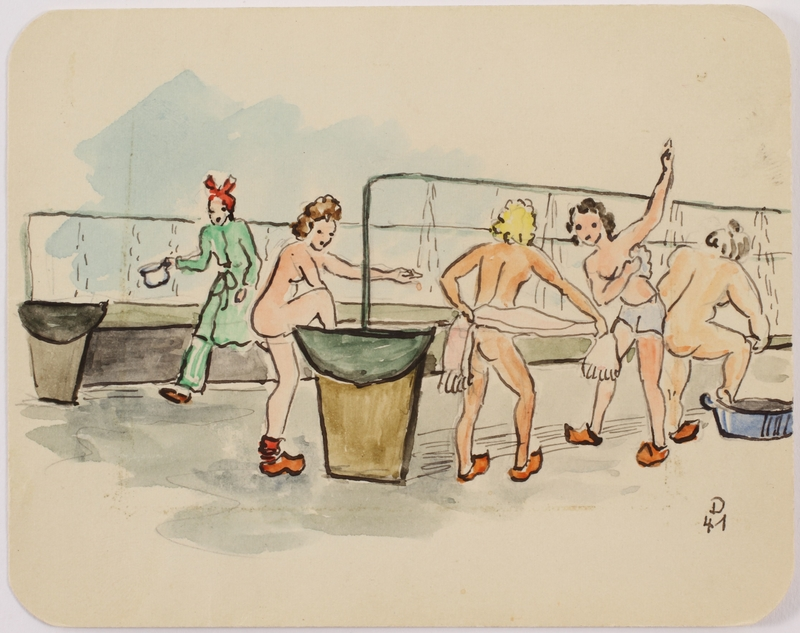 2010.514.10 front Sketch of female concentration camp inmates bathing