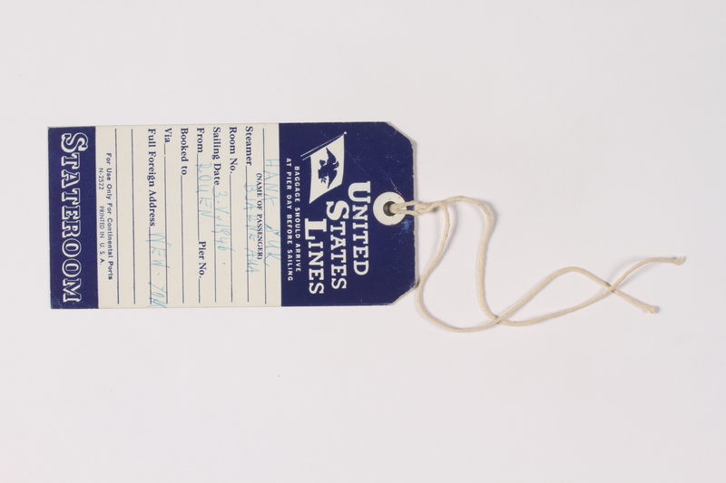 2011.445.2 front Luggage tag used by a Czech Jewish survivor