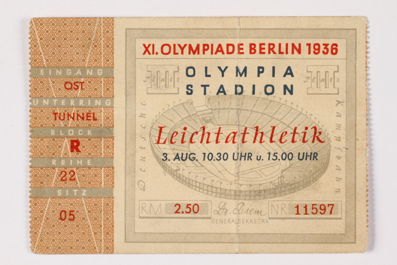 1992.194.1 front 1936 Olympic event admission ticket
