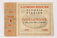 1992.194.1 front 1936 Olympic event admission ticket  Click to enlarge