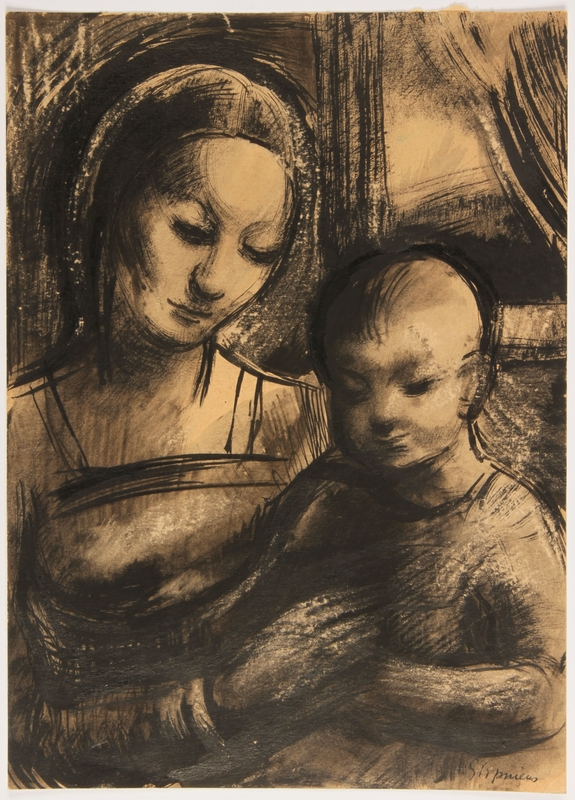 2015.451.7 front Drawing of Madonna and Child