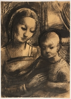 2015.451.7 front Drawing of Madonna and Child  Click to enlarge