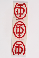 2015.451.17 front Strip of cloth labels  Click to enlarge
