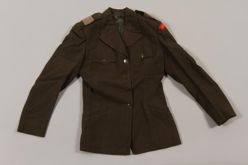 2015.451.31 front Uniform jacket with UNRRA patch