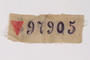 White prison patch with a red triangle and number 97905 owned by a Lithuanian Jewish man